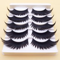Wholesale Exaggerated Stage Makeup - Black Winged Exaggerated False Eyelashes Soft Long Section Thick Cross Messy Lashes Performing Arts Stage Makeup Tools Fake Eyelashes