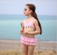 Wholesale Sexy Kids Bathing Suit - Children Clothing Summer 2017 New Girls Two Piece Swimsuit Sexy Solid Bow Girls Bikini Swimwear Kids Bathing Suit