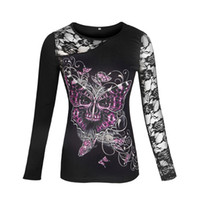 Wholesale Top Skull Blouse - Blouse Women Tops Tee Shirt Rouap Pullover Long-Sleeved Print Pattern Skull Sexy Lace Blouses Women Clothes Plus Size LJ7915T