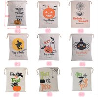 Wholesale New Halloween Bags Candy Canvas Bag Gifts Sacks Pumpkin Head Gift Wrapping Bags Bundle Pocket Durable Multiple Types