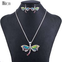 Wholesale Unique Earrings For Women - MS1504292Fashion Jewelry Sets Hight Quality Necklace Sets For Women Jewelry Multicolor Alloy Unique Dragonfly Design Party Gift