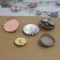 Wholesale Wholesale Metal 25mm Round Tray - BoYuTe 50Pcs Round 10-12-14-15-16-18-20-25MM Cabochon Base Blank Button Tray Bezel Metal Copper Diy Jewelry Findings Components