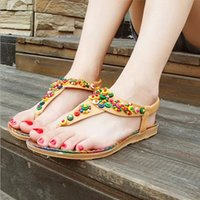 Wholesale String Slips - Women Sandals 2016 Comfort Sandals Women Summer Bohemia String Bead Fashion Flat Plus Size Sandals