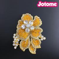 topaz pimleri broşlar toptan satış-Topaz Rhinestone Kristal Orkide Çiçek Broş Pin, Klasik Kristal Rhinestone Büyük Çiçekler Orkide Broş Pins Kadın Takı