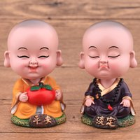 Wholesale Wholesalers Resin Statues - Chinese Nodding Monks Lovely Resin Decorative Little Figure Buddhism Statue Tabletop Ornaments Home Car Decoration