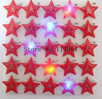 Wholesale Light Brooches - Wholesale-25 pcs lot Pentagonal pattern kids cartoon LED brooch, lighting brooches with pin p-26