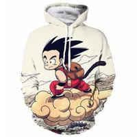 Wholesale Cute Pullover Sweatshirts - Wholesale-Anime Dragon Ball Z Pocket Hooded Sweatshirts Cute Kid Goku 3D Hoodies Pullovers Men Women Long Sleeve Outerwear Hip Hop Hoodie