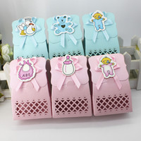Wholesale baby celebration party - Baby Candy Box For Wedding Cute Gift Bag Decoration Celebration Birthday Supplies Hollow Pink Blue Chocolate Case Party Set 0 55zj F R