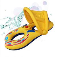 bagues flottantes flottantes achat en gros de-Anneau de cou de natation gonflable pour bébé Mère et enfant Cercle de natation Double anneaux de natation Parasol Float Seat Piscine