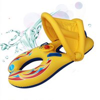 bebek yüzme için şişirilebilir yüzükler toptan satış-Şişme Bebek Yüzme Boyun Halka Anne ve Çocuk Yüzme Daire Çift Yüzme Yüzükler Güneşlik Şamandıra Koltuk Piscine