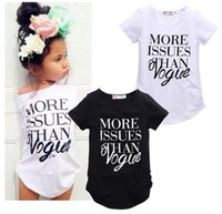 Wholesale Soft Girl Prints T Shirt - European Style Children Summer T Shirt Baby Girl MORE ISSUES THAN VOGUE letter print soft cotton Top Tees