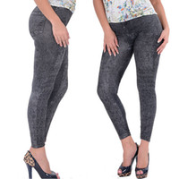 Wholesale Jean Pant Hot Girl - Wholesale- Hot Selling Lady Girl Black Sexy Faux Jean Skinny Jeggings Stretchy Slim Pants Plus Size Ankle-Length Pants Women Jeans