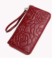Wholesale Red Flower Purse - New Fashion Genuine Leather Women Long Purse Flower Print Female Zipper Wallet Money Clips Woman Cards Purse