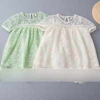 Wholesale Trendy Wholesale Summer Clothing - Baby girls princesss dresses kids lace-up tassel A-line dress girls short sleeve brief style children casual trendy summer clothing G0120