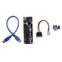 pci e kabel 1x 16x großhandel-neueste funktion 1X TO 16X PCI-E PCI Express Riser Extender Adapter Karte mit 60 cm USB 3.0 Kabel Power für Bitcoin