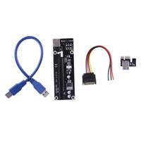 pci ifade 1x kartlar toptan satış-Yeni özellik 1X IÇIN 16X PCI-E PCI E Express Yükseltici Genişletici Adaptör Kartı ile 60 cm USB 3.0 Bitcoin için Güç Kablosu