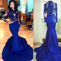 2017 Sexy Royal Blue Mermaid Abendkleider Kleider Tragen Illusion Long Sleeves Prom Party Kleid Neue Besondere Anlässe Party Kleid