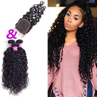 Wholesale Machine Attachments - Ushine Indian Malaysian Water Wave Human Hair Bundles With Closure Natural Color 3-5 Bundles 100% Unprocessed Can Be Colored