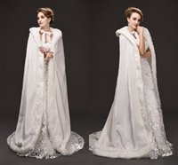 Wholesale Cape Fur Trim Cheap - 2017 Fall Winter Victorian Style Long Bridal Capes Satin Faux Fur Trim Wedding Cloaks Cheap In Stock CPA973
