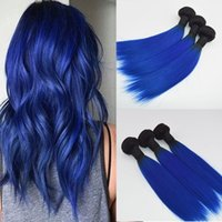 Wholesale Hair Extension Blue Piece - Wholesale Price Ombre Blue Hair Weaves Brazilian Straight Human Hair Extensions Remy Hair Bundles 100G one Piece