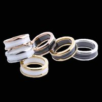 Wholesale China Ceramic Factory - Skinny black and white thread ceramic ring, titanium steel plating factory wholesale and foreign trade fashion titanium steel jewelry