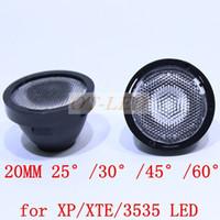 Wholesale Cree Xt E - Wholesale-Freeshipping!20pcs 20mm Black 25 30 45 60 degree LED LENS Reflector Collimator for CREE XP-E XPE  XP-G XPG   XT-E XTE LED Light
