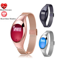 Wholesale Heart Rate Woman - 2017 Women Fashion Z18 Smart Watch With Jewels Screen Intelligent Blood Pressure and Heart Rate Monitor Pedometer Smart Wristbands