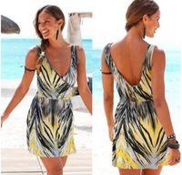 Wholesale Cocktail Zebra - Zebra-stripe dresses for women backless sleeveless V-neck short skirt fashion loose comfort breathable beach cocktail dresses