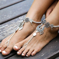 Wholesale Barefoot Jewellery Wholesale - Fashion Bohemian Retro Coin Barefoot Beach Sandals Anklet Bracelet Cheville Foot Jewellery For Women 2017 New Style