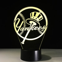 Wholesale Yankee Christmas - 2017 New York Yankees 3D Illusion Night Lamp 3D Optical Lamp AA Battery DC 5V Wholesale Free Shipping