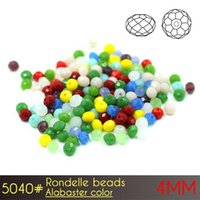 Wholesale Art Manufacturers - Nail Art DIY Clothing Glass Beads Manufacturers Crystal Rondelle Beads 4mm Alabaster Colors A5040 150pcs set