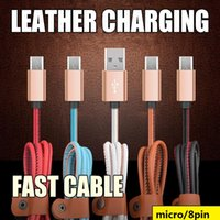 Wholesale S4 Key - Fast Charging 1m 3ft Micro V8 5pin usb data leather charger cable for samsung galaxy s3 s4 s6 s7 edge for htc android phone key chain cable