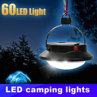 Wholesale Outdoor Waterproof Lanterns - Wholesale- Outdoor Waterproof Led Portable Camp lamp with 60 leds with Lampshade Circle Tent Lantern White Light Campsite Hanging Lamp