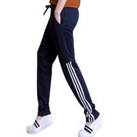 Wholesale Women S Fitted Cargo Pants - 2017 Summer Pants Women Casual Fit Pants Cotton Harem Pants Casual Elastic Waist Stripe Leisure Trousers Plus Size Sportswear