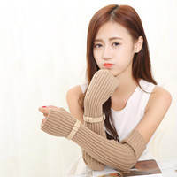 Wholesale Long Gloves For Men - Wholesale- HQ 2017 Women's Winter New Knit Long Gloves with Belt Design Fashion Arm Warm Solid Color Fingerless Gloves for Female DYY3205