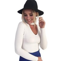 Wholesale Korean Halter Tops - Wholesale-Women fashion knitted Pullover Sweater V Neck long Sleeve Halter casual Knitwear Korean Style Tops 5 colors