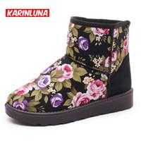 Wholesale Fresh Flowers Shoes - Wholesale- KarinLuna Big Size Keep Warm Beautiful Snow Boots Women Flower Prints Fresh Winter Shoes With Fur Warm Fur Ankle Boots