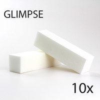 Wholesale White Block For Nails - Wholesale- GLIMPSE 10PCS White Nail file Buffer Block good quality Buffing Sanding Files Pedicure Manicure Care for SALON