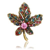 Wholesale Studded Clothes - 2017 new fashion high quality exquisite studded crystal retro color maple leaf brooch wild clothing accessories jewelry gifts