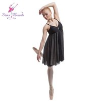 Wholesale Ballet Practice Wear - Adult Lyrical Dress Ballet Dancing Dresses Women Practicing Skirted Leotard Ballet Performance Dress Girls Stage Wears DF201002A