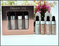 Wholesale Glowing Face Cream - Mini Cover FX Custom Enhancer Drops Face Highlighter Powder Makeup Set Glow 4 color & 4.5 ml liquid Highlighters Cosmetics
