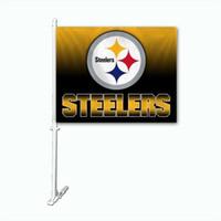 Wholesale Polyester Car Flags - Football Pittsburgh Team helmet skyline Car Indoor Outdoor Flag USA Hockey College Baseball Baseketball Team Flag Custom Any Flag