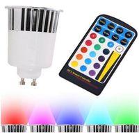 Wholesale Led Mr16 12v Ac Rgb - 20PCS 85-265V AC 5W RGB GU10 LED Spotlight Color changing Bulb Lights with 28keys IR Remote Controller Free Shipping by DHL Fedex UPS