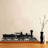 Wholesale Army Wall Sticker - KW31643 Train Silhouette Wall Decals Army Locomotive Home Decor Vinyl Removable Waterproof Wall Stickers Kids Room Living Room