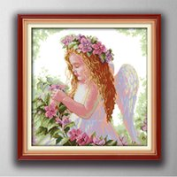 pinturas de angel al por mayor-Un hermoso ángel, estilo gracioso punto de cruz Conjuntos de costura Bordado kits pinturas contadas impresas sobre lienzo DMC 14CT / 11CT