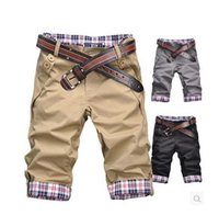 erkekler rulo şort toptan satış-S5Q Moda erkek Nedensel Fit Kesilmiş Rolled-up Pamuk Ince Ekose Şort Pantolon AAAAWK