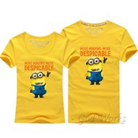 Wholesale Minions Kevin - Minions t shirt Stuart tee Top lovers clothes t-shirt Solid Tees carton Miss Minions Kevin plus size Tshirt Cotton tees