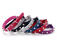 6 cores PU Leather Spike Studded ajustável Pet Small / Medium Dog Collar XS S M L New G1011