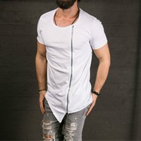 Wholesale short asymmetrical - New Men's Fashion Show Stylish Long T shirt Asymmetrical Side Zipper Big Neck Short Sleeve T-shirt Male Hip Hop Tee