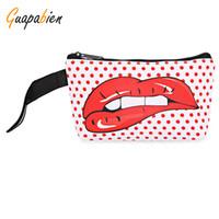 Wholesale Money Makeup - Wholesale- Guapabien 2017 Fashion Big Red Mouth Print Cosmetic Bags Women Travel Makeup Case Pocket Money Mobile Phone Bag for Ladies